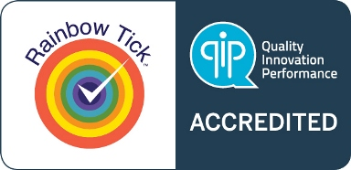 Rainbow tick accredited symbol
